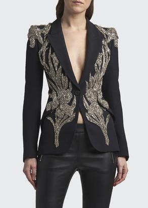 Alexander McQueen Bead-Embellished One-Button Jacket