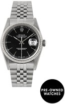 Rolex Pre-Owned Datejust Black Baton Dial Stainless Steel Mens Watch Ref 16234