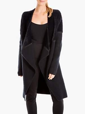 Max Studio Faux Fur Wrap Cardigan, Black
