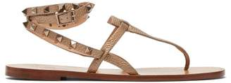 Valentino Rockstud Tie Ankle Leather Sandals - Womens - Gold