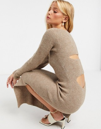 ASOS DESIGN knitted dress with cut out back detail in brown