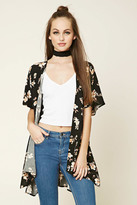 Forever 21 FOREVER 21+ High-Low Floral Print Kimono