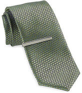 Gold Series Multi Dot Tie with Silvertone Tie Bar Casual Male XL Big & Tall