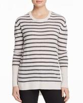 Aqua Cashmere High/Low Stripe Cashmere Tunic Sweater