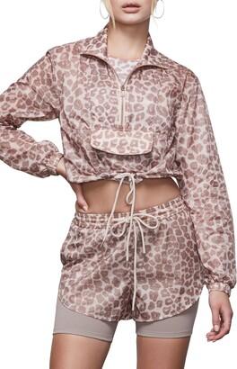 Good American Leopard Print Sheer Half Zip Pullover