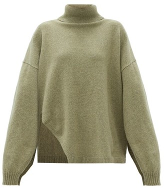 Tibi Slit-sleeve Recycled Cashmere-blend Sweater - Green