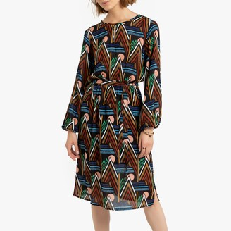 Compania Fantastica Knee-Length Tribal Print Dress with Long Sleeves