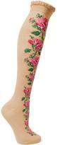 Gucci Metallic Crochet-trimmed Embroidered Cotton-blend Socks - Beige