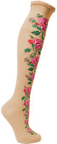 Gucci Metallic Crochet-trimmed Embroidered Cotton-blend Socks