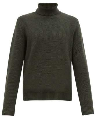 Altea Roll Neck Virgin Wool Sweater - Mens - Khaki