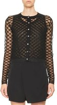 Carven Sheer Netted Button-Front Cardigan, Black