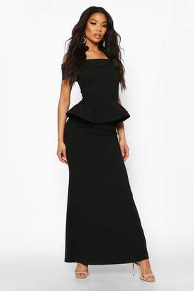 boohoo Bardot Peplum Maxi Dress
