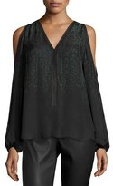 Elie Tahari Eliot Cold-Shoulder Printed Silk Blouse, Black
