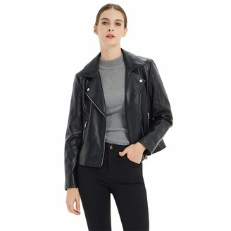 CGTL PU Leather Cropped Jacket Long Sleeve Womens Girls Belt Punk Motorcycle Suede Fashion Slant Zipper Jacket