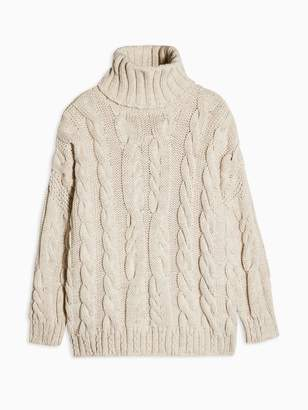Topshop Chunky Cable Knit Roll Neck Jumper - Oatmeal
