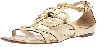 Louis Vuitton Cream Patent Leather Cutout Gloss Flat Sandals Size 39