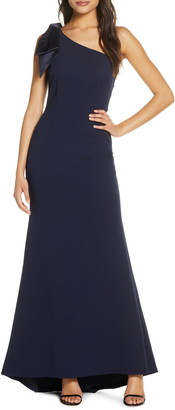 Eliza J Bow One-Shoulder Gown