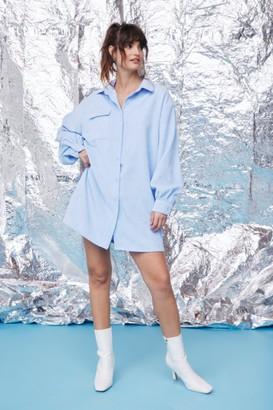 Nasty Gal Womens We'll Just Be a Mini Corduroy Shirt Dress - Cornflower Blue