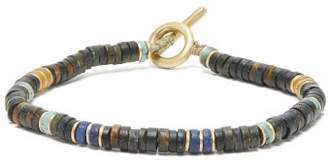 M. Cohen Tiger's Eye And Lapis Gold Plated Bracelet - Mens - Black Multi