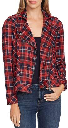 Vince Camuto Plaid Knit Moto Jacket