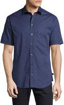 Armani Collezioni Printed Short-Sleeve Stretch-Cotton Shirt, Blue