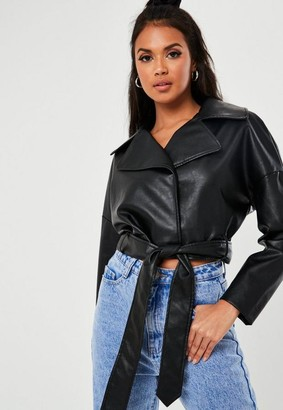 Missguided Black Faux Leather Belted Biker Jacket