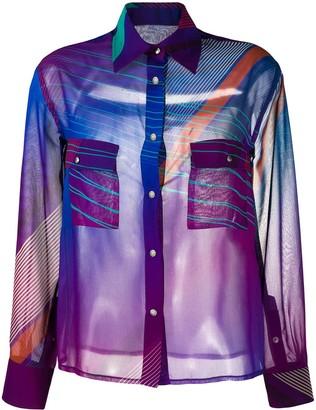 Koché Semi-Sheer Button-Up Shirt