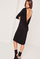 Missguided Cowl Back Long Sleeve Midi Dress Black