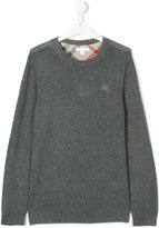 Burberry logo embroidered cashmere jumper