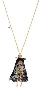 Betsey Johnson Pave Skeleton Pendant Long Necklace
