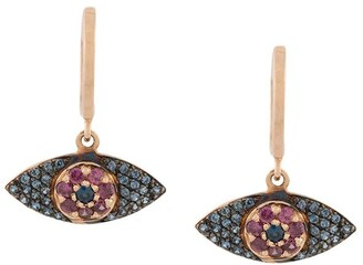 Ileana Makri Sapphire And Rhodolite Evil Eye Earrings