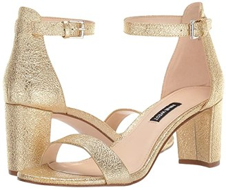 Nine West Pruce Block Heeled Sandal (Gold) Women's Shoes