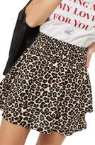 Topshop Tiered Leopard Skirt
