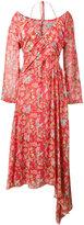 Preen by Thornton Bregazzi Corinne Floral Print Off-Shoulder Halterneck Dress