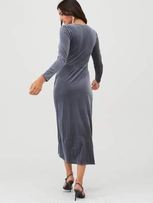 Very Velvet Stripe Midi Dress - Midnight Blue