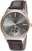 Esprit Barton Men's Quartz Watch with Grey Dial Analogue Display and Grey Leather Strap ES108011002