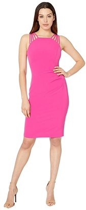 Vince Camuto Sleeveless Halter Neck with Details at the Shoulder (Hot Pink) Women's Dress