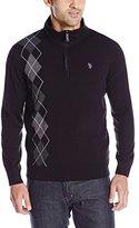 U.S. Polo Assn. Men's Asymmetric-Argyle Half-Zip Sweater, Black
