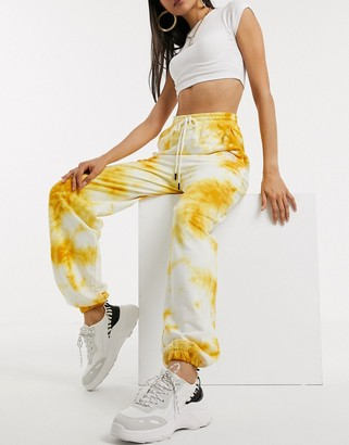 ASOS DESIGN oversized bleach wash jogger with rubber trim