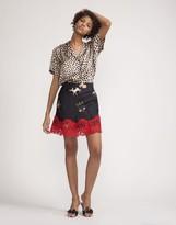 Cynthia Rowley Zodiac Print Lace Trim Skirt