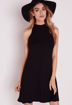 Missguided High Neck Jersey Racer Swing Dress Black