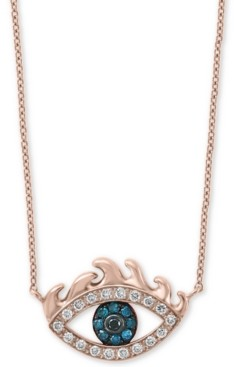 "Effy Diamond Evil Eye 18"" Pendant Necklace (1/6 ct. t.w.) in 14k Rose Gold"