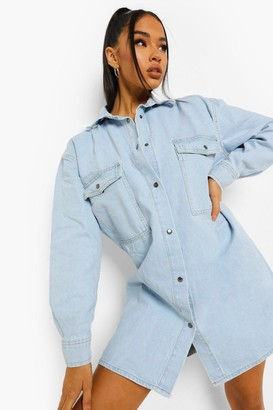 boohoo Vintage Pocket Oversized Shirt Dress