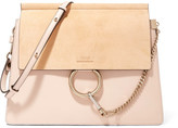 Chloé Faye Medium Leather And Suede Shoulder Bag - Blush