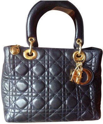 Christian Dior Lady Navy Leather Handbags