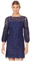 Vince Camuto Lace Shift Dress w/ Trim Detail (Navy) Women's Dress