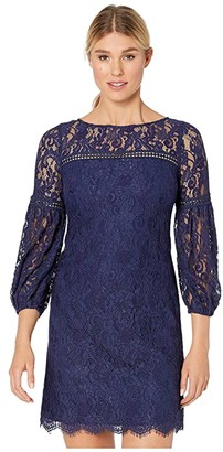 Vince Camuto Lace Shift Dress w/ Trim Detail (Navy) Women's Dress