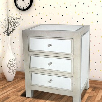 Benjara Contemporary Style Wooden End Table With Three Drawers, Silver