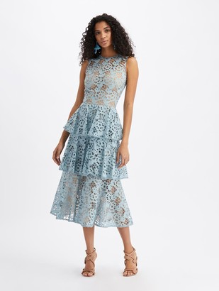 Oscar de la Renta Eyelet Tiered Midi Dress