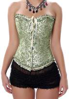 Dawafa Women's Boned Lace Up Corset Satin Overbust Corset With G-string Large